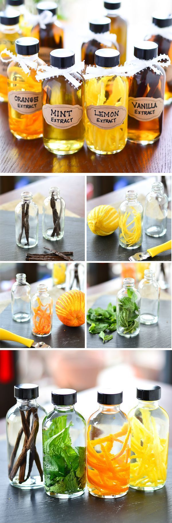 A real $$$ saver ~ DIY vanilla, lemon, orange, & mint extracts.  Add whole vanilla bean (Whole Foods or other health food grocery stores), citrus zest, or mint leaves to 1/2 cup vodka to small jar.  Seal & store in cool dark place for 4-6 weeks, then strain citrus & mint extracts & discard solids.  Vanilla beans are ok to leave in the bottle.   @carebearmsw  ;-)