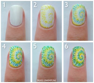 Tie Dye Nail Tutorial - Head over to Pampadour.com for more fun and cute nail art designs! Pampadour.com is a community of beauty bloggers, professionals, brands and beauty enthusiasts! #nails #nailpolish #polish #nailart #naildesign #cute #fun #pretty #howto #tutorial #beauty #spring #manicure #tiedye
