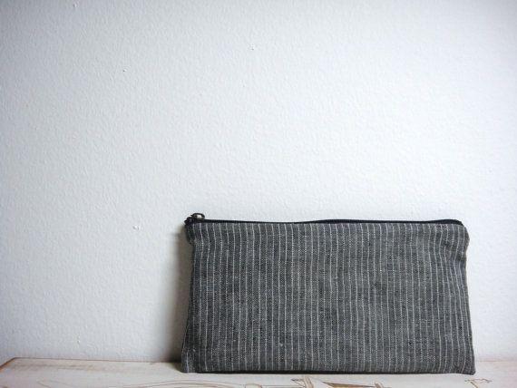 Zipper Pouch, Gray Stripes 100% Linen Fabric, Pencil Case, Linen Pencil Pouch, Linen Stripes, Simple Grey Pouch