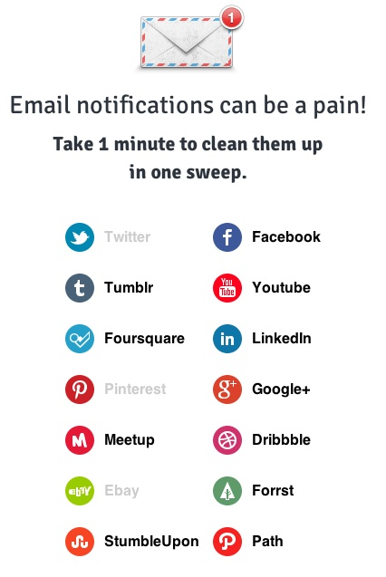 Take care of what notifications you get from whom. This web service functions as a kind of dashboard and gives you quick access to all your #social #network notification settings: #facebook #twitter #tumblr #youtube #linkedin #foursquare #pinterest #google+ #meetup #dribbble #ebay #forrst #stumbleupon #path (via http://twitter.com/pattulus)