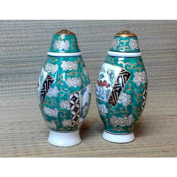 Midcentury Japanese Porcelain Salt Pepper Shakers, Large, Hand... ($18) ❤ liked on Polyvore featuring home, kitchen & dining and serveware