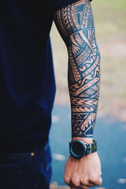 Ocean Wave Spear Head And Shark Teeth Polynesian Tattoo