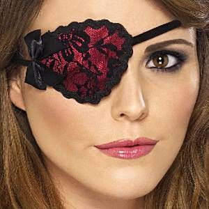 Red Pirate Eye Patch with Black Lace                                                                                                                                                     More
