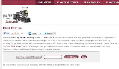 Use GetPNRStatus.co.in easy user interface to check Indian Railways or IRCTC PNR Status and get necessary information related to PNR Enquiry.