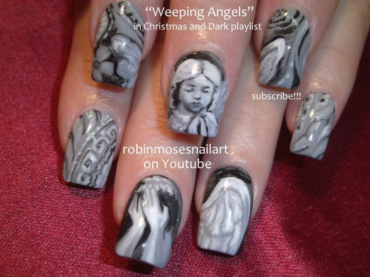 Doctor Who Weeping Angels Nails by the great Robin Moses — absolutely amazing, she is so talented :)