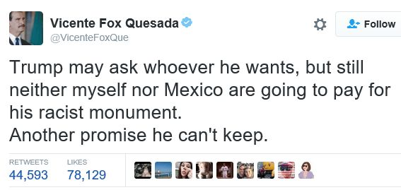 Former Mexican President Vicente Fox Quesada trolls Donald Trump