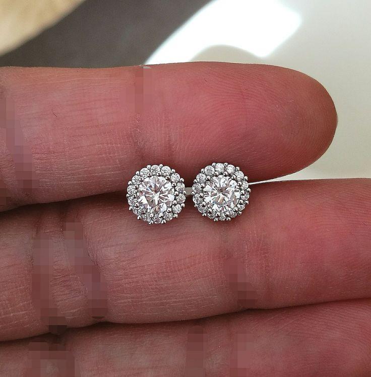 Diamond Halo Earrings, Stud Earrings, Diamond Earrings, Women's Earrings, Wedding Gift, …