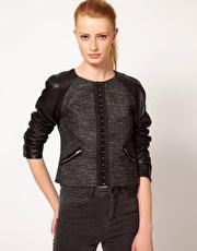 Kookai Boxy Jacket With Leather Sleeve  www.asos.com