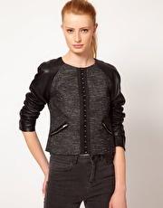 Kookai Boxy Jacket With Leather Sleeve  www.asos.com