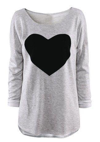 Light Grey Round Neck Long Sleeve Heart Print T-Shirt 8.99