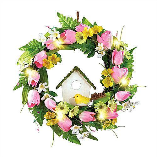 """Easter Wreath Pre-Lit Tulip & Birdhouse Front Door Floral Decoration 16""""Diameter #SmartDealsMarket"""