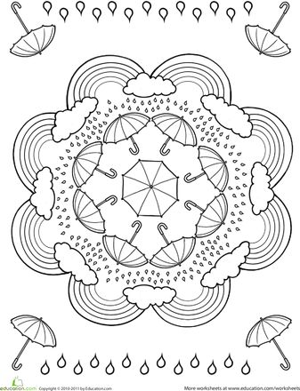 Lots of great mandalas including this rainy weather one