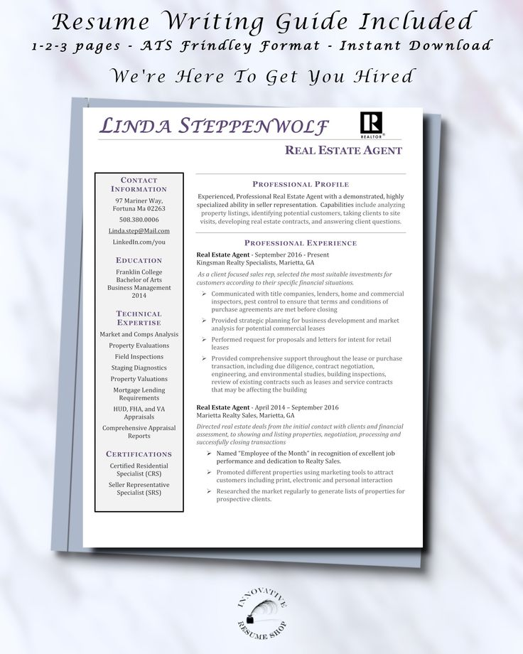 Real estate agent realtor resume template word or pages