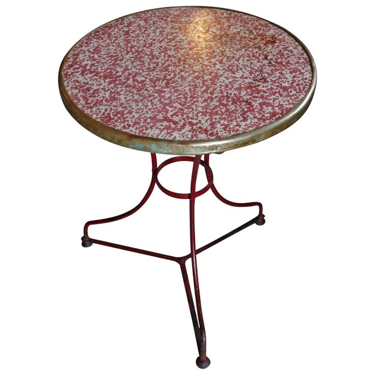 For Sale On   Charming French Iron Cafe Table In Lovely Original Red Paint  Work And Faux U0027rougeu0027 Travertine Tops With Worn Brass Banded Edge.