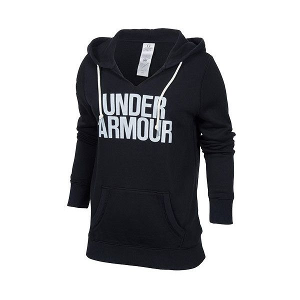 Women's Under Armour Favorite Fleece Hoodie ($55) ❤ liked on Polyvore featuring tops, hoodies, graphic sweatshirts, fleece sweat shirts, fleece hoodies, graphic hoodies and graphic hoodie