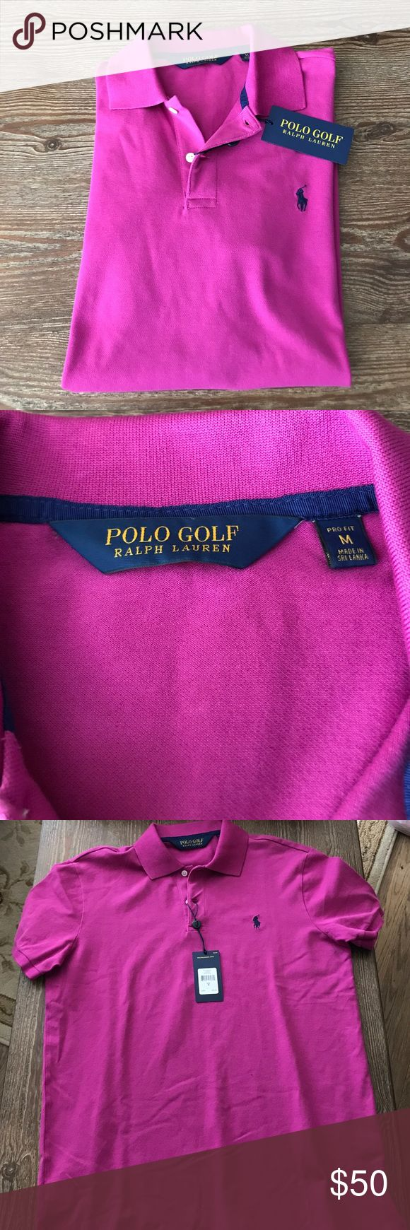 NWT Polo Golf Shirt New with tags. Size M. Pro fit. Armpit to armpit 21 inches length 28 inches. Beautiful purple color green collar  blue polo sign. No Trades, cross posted! Polo by Ralph Lauren Tops
