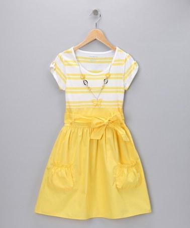 Dandelion StripeSpring Dresses, Yellow Dresses, Bears, Toddlers Girls, Girls Fashion, Infants, Cute Summer Dresses, Stripes Dresses, Dandelions Stripes Wond