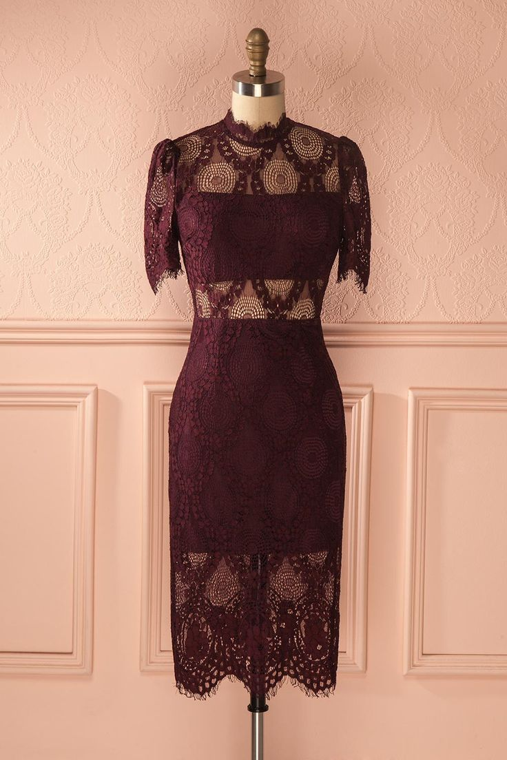 "« Si vous ne pouvez être meilleure que la concurrence, il vous suffit de vous habiller mieux » - Anna Wintour ""If you can't be better than your competition, just dress better."" - Anna Wintour Burgundy lace overlay midi dress www.1861.ca"