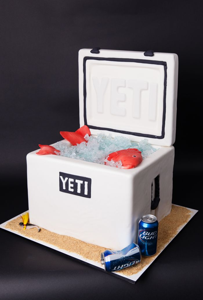 Yeti cooler cake grooms cake cakes for the groom for How to make a cooler table