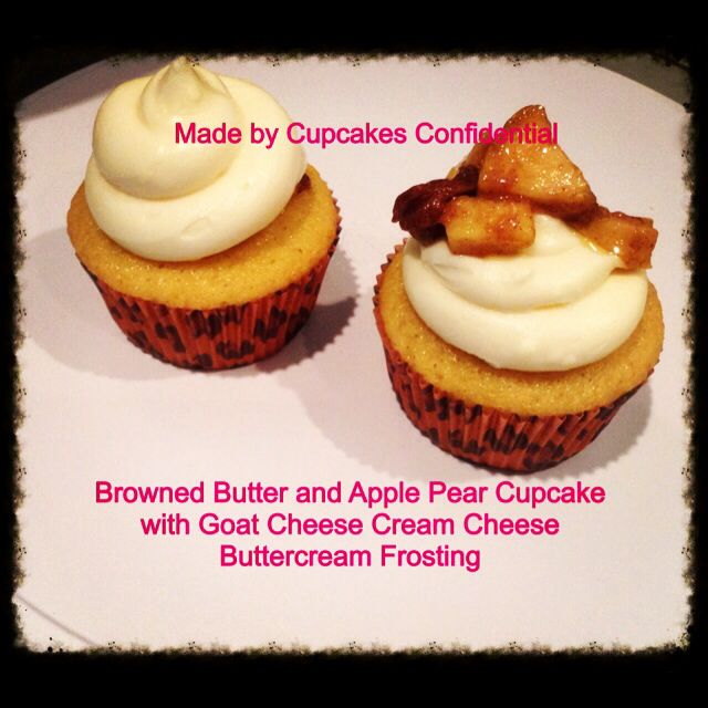 Today's Cupcake: Brown Butter and Apple Pear Cupcakes with Goat Cheese Cream Cheese Buttercream Frosting #brown #butter #applepear #cupcake #goat #cheese #cream #buttercream #frosting #bakery #baking #cupcakery #cupcakeart #disabled #veteran #donationsaccepted #online #edibleart #fromscratch #givingback #gratitude #help #heroes #homemade #helpavet #inneed #military #nonprofit #order #thankful #unsungheroes #veterans