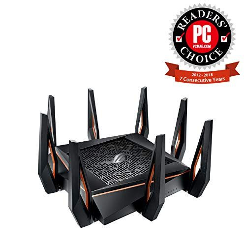 Asus Rog Rapture Gt Ax11000 Ax11000 Tri Band 10 Gigabit Wifi Router Aiprotection Lifetime Security By Trend Micro In 2020 Best Gaming Router Gaming Router Wifi Router