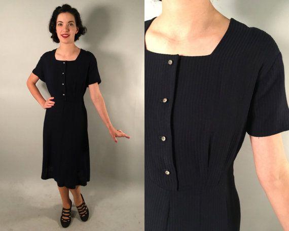 Vintage 1940s Dress | Sheer Midnight Blue Dress with Gored Skirt | Extra Large