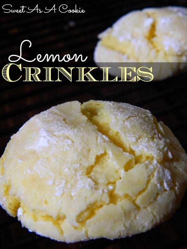 Lemon Crinkles | A light and fluffly lemon crinkle cookie packed with lots of lemony flavor #lemon #cookies #spring www.sweetasacookie.com