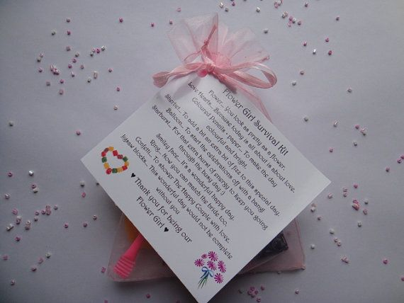 Flower Girl Survival Kit  Lovely Novelty Keepsake for your wedding party, fun little gift to give on the big day, sure to bring a smile to her