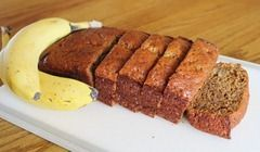 Banana Bread with applesauce instead of oil and honey instead of sugar.