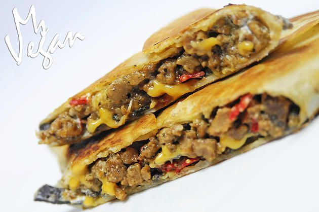 Vegan version of Taco Bell Grilled Stuft Nacho with Beyond Meat Daiya Foods Simply Vijay