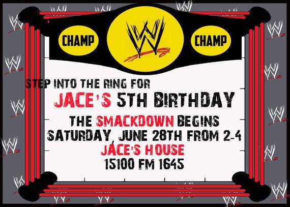 179 best 92 - wrestling (decor) images on pinterest   birthday, Birthday invitations