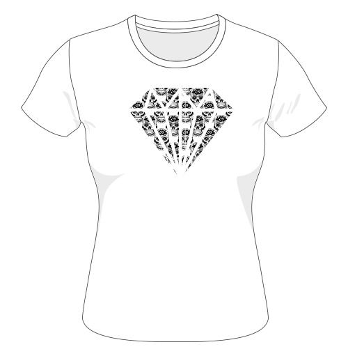 Diamond skull ladies t-shirt