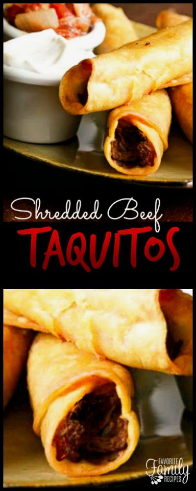 Shredded Beef Taquitos are great for when you have leftover roast from Sunday dinner. They make a great lunch or snack and they can be frozen for later use. via @favfamilyrecipz