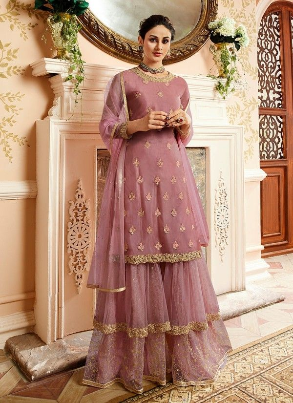 2caad169d5 Light Purple With Golden Touch Embroidered Gharara Suit in 2019 ...