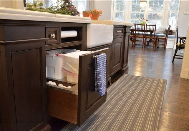 """Recycling Kitchen Station. Kitchen Recycling Bin Storage. A 24"""" wide pullout waste drawer holds two cans (for garbage and recycling), a roll of paper towels, and a small drawer for dishtowels."""