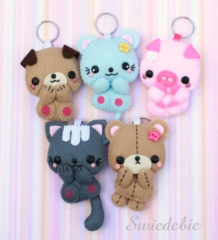 Choose ONE of Your Favourite Felt Pet Keychain - Dog Mouse Piggy Kitty or Teddy. $15.00, via Etsy.