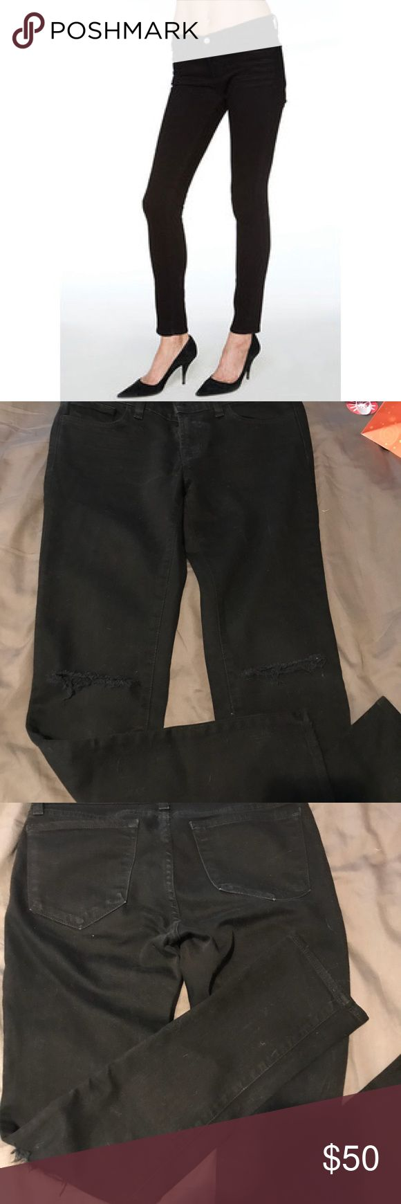 """J Brand jeans style 941 in Jett with custom rips Worn about 2 time, until my butt grew and now I can't fit them :( I had custom rips added to the knees. Being 5'2"""" makes it hard to find jeans with rips on the knees and not shins lol. So if you're petit like me these will look hot! J Brand Jeans Skinny"""