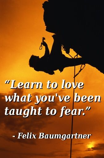 Learn to love what you've been taught to fear ~ Felix Baumgartner