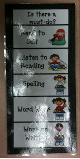 Daily 5 Center Rotation -- bookmark for students and suggested pocket chart for activity center printables
