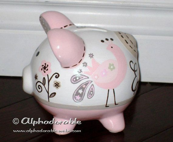 """Custom, hand painted ceramic personalized piggy bank  M2M Lambs and Ivy Fawn design small 5"""" on Etsy, $40.00"""