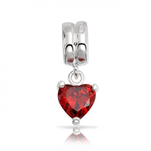 925 Silver Red CZ Dangle Heart Valentine Pandora Style Bead Charm