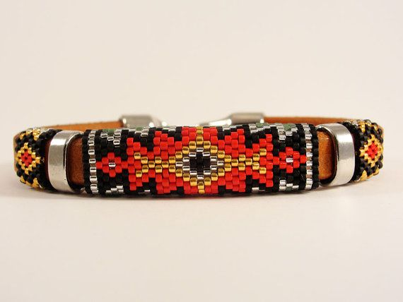 Peyote Woven Licorice Leather Bangle by Calisi on Etsy