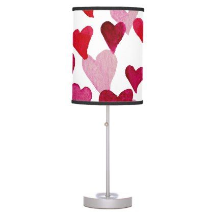 Valentines Day Watercolor Hearts  pink Desk Lamp - red gifts color style cyo diy personalize unique