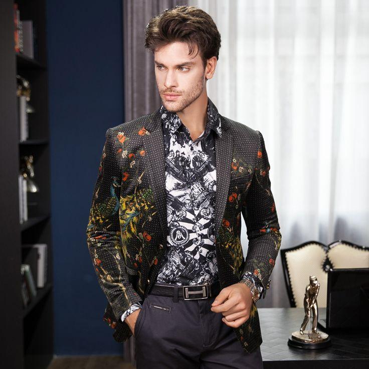 Fire Kirin Blazer Men 2017 Peacock Printed Men Blazers Casual Suit Jacket Slim Fit Homens Blazer Mens Stage Wear Brand Coat Q205 - www.eneryoh.com