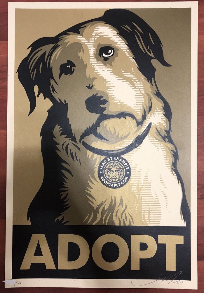1d8c3f9162b  art Adopt Print Shepard Fairey Obey Giant Gold Variant Signed Numbered  Obama Rare please retweet
