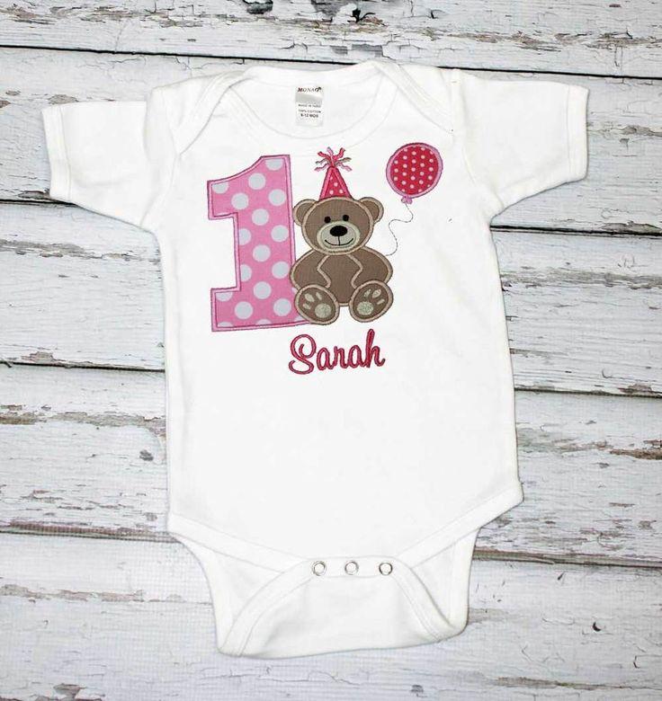 Girls Birthday Shirt,Teddy Bear Birthday Shirt,First Birthday Shirt,Appliqué Embroidered Shirt Bodysuit