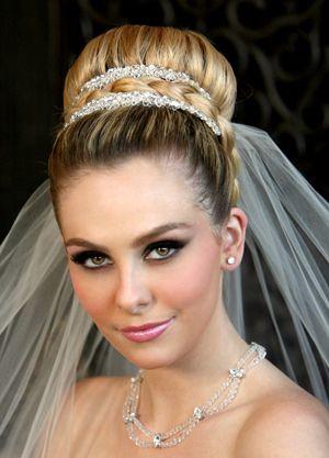 Wedding High Bun Hairstyles With Veil