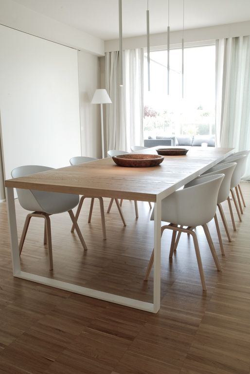 Minimalistic dining room - sometimes it takes less to make it look more modern. wood. white. home. interior design.