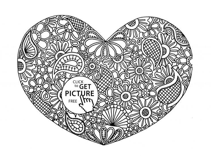 hearts and flowers coloring pages for kids | 12 best Hearts coloring pages images on Pinterest | Heart ...
