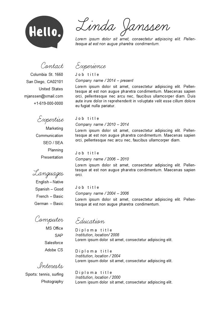 52 best Go Sumo CV templates Resume Curriculum Vitae design - ats friendly resume